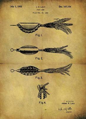 Catfish Mixed Media - 1952 Fish Lure Patent by Dan Sproul