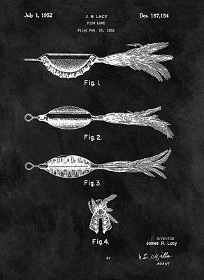 Pole Drawing - 1952 Fishing Lure Patent by Dan Sproul