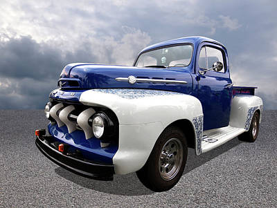 Photograph - 1952 Ford F-1 In Blue And White by Gill Billington