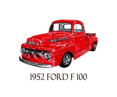 Ford Truck Drawing - Big Red 1952 Ford F-100 Pick Up by Jack Pumphrey
