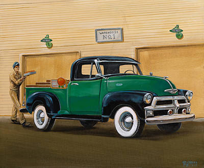 Low Rider Painting - 1952 Ford F100 Pickup by Hank Wilhite