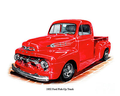 Drawing - 1952 Ford Pick Up Truck by Jack Pumphrey