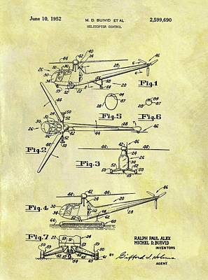Helicopter Drawing - 1952 Helicopter Patent by Dan Sproul