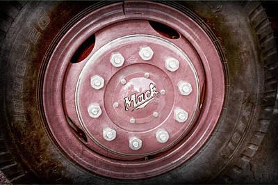 Antique Fire Trucks Photograph - 1952 L Model Mack Pumper Fire Truck Wheel Emblem -0010ac by Jill Reger