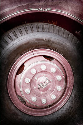 Firetruck Photograph - 1952 L Model Mack Pumper Fire Truck Wheel Emblem -0013ac by Jill Reger