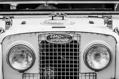 Land Rover Photograph - 1952 Land Rover 80 Grille -0988bw by Jill Reger
