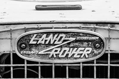 Rover Photograph - 1952 Land Rover 80 Grille Emblem -0988bw2 by Jill Reger