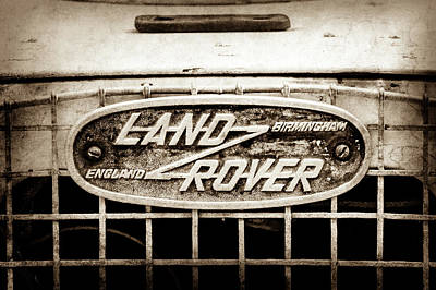 Rover Photograph - 1952 Land Rover 80 Grille  Emblem -0988s2 by Jill Reger