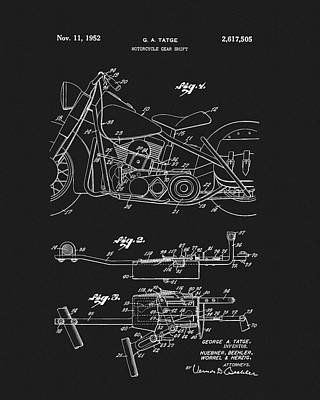 Motorcycle Drawing - 1952 Motorcycle Patent by Dan Sproul