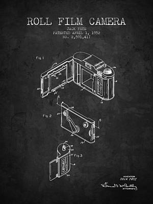 1952 Roll Film Camera Patent - Charcoal - Nb Art Print