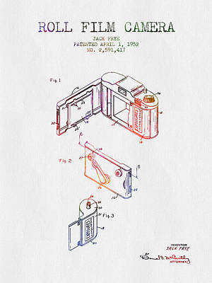 Camera Digital Art - 1952 Roll Film Camera Patent - Color by Aged Pixel