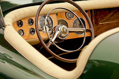 Sportster Photograph - 1952 Sterling Gladwin Maverick Sportster Steering Wheel by Jill Reger