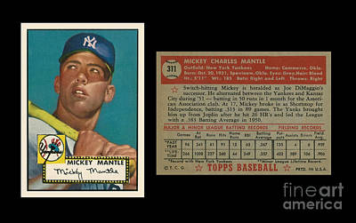 Athletes Photos - 1952 Topps Mickey Mantle rookie card by Art Kurgin