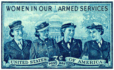Corps Painting - 1952 Women In Military Service Stamp by Historic Image