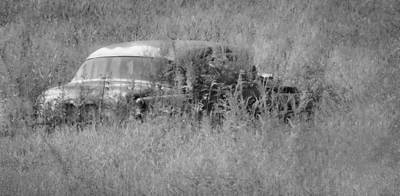 Photograph - 1953 Buick Roadmaster - September Field - B/w by Greg Jackson