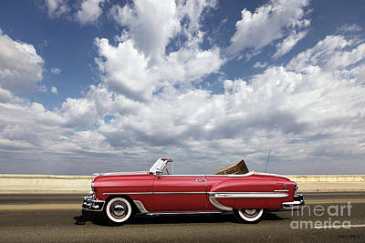Car Mixed Media - 1953 Chevy Bel Air Convertible, Mixed Media, Louis Vuitton Steamer Trunk  by Thomas Pollart