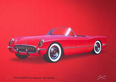 Barracuda Painting - 1953 Corvette Classic Vintage Sports Car Automotive Art by John Samsen