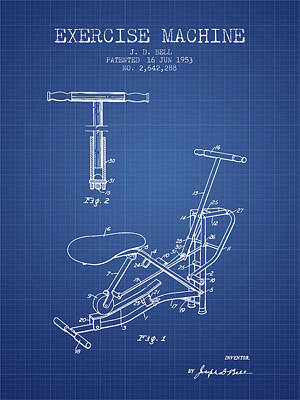 Weightlifting Wall Art - Digital Art - 1953 Exercising Device Patent Spbb07_bp by Aged Pixel