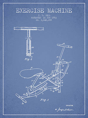 Weightlifting Wall Art - Digital Art - 1953 Exercising Device Patent Spbb07_lb by Aged Pixel