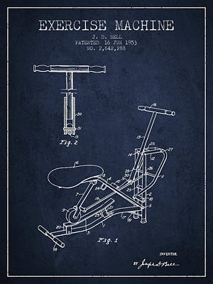 Weightlifting Wall Art - Digital Art - 1953 Exercising Device Patent Spbb07_nb by Aged Pixel