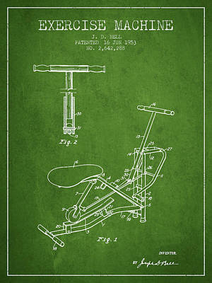 Weightlifting Wall Art - Digital Art - 1953 Exercising Device Patent Spbb07_pg by Aged Pixel