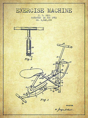 Weightlifting Wall Art - Digital Art - 1953 Exercising Device Patent Spbb07_vn by Aged Pixel