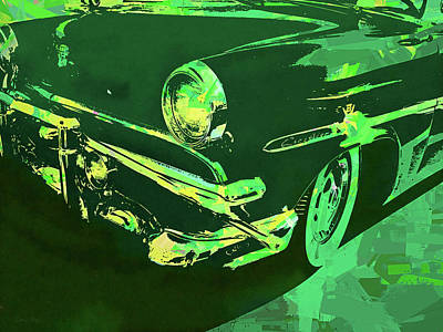 Digital Art - 1953 Ford Crestline Green Pop by David King