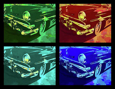Digital Art - 1953 Ford Crestline Quad Pop by David King