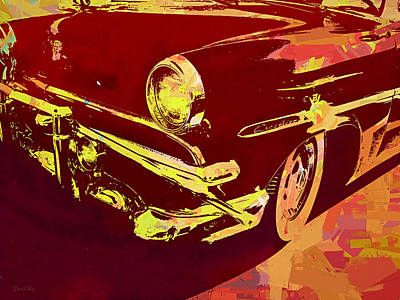 Digital Art - 1953 Ford Crestline Red Pop by David King