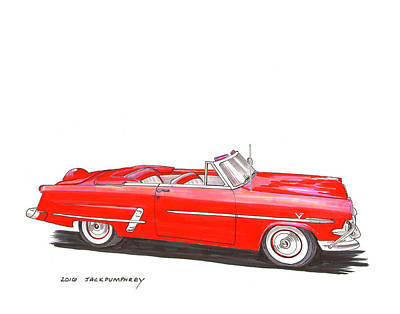 Painting - 1953 Ford Crestline Sunliner Convertible by Jack Pumphrey