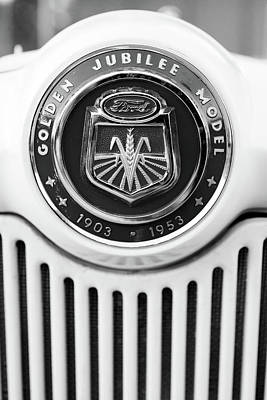 Photograph - 1953 Ford Tractor Emblem Bw by Rospotte Photography