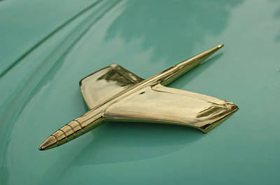 Photograph - 1953 Golden Dragon Kaiser Hood Ornament by Jill Reger