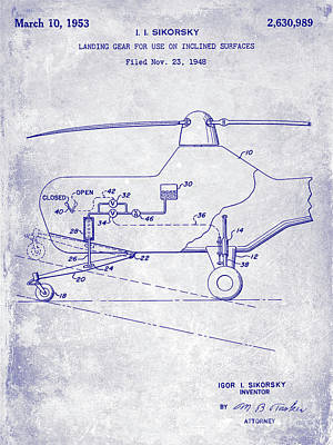 Helicopter Photograph - 1953 Helicopter Patent Blueprint by Jon Neidert