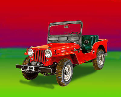 Painting - 1953 Jeep C J 3 A  by Jack Pumphrey
