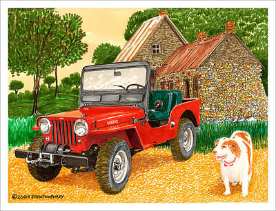 Jeep Drawing - 1953 Jjeep And Gus by Jack Pumphrey