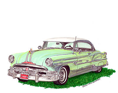 Automotive Drawing - 1953 Pontiac Chieftain Catalina H.t. by Jack Pumphrey