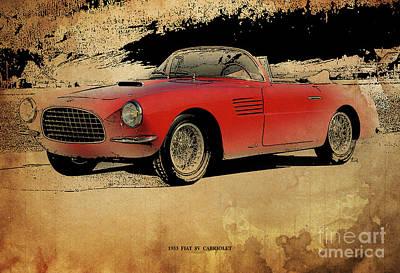 Transportation Digital Art - 1953 Red Fiat 8V Cabriolet by Drawspots Illustrations