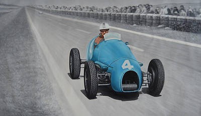 Painting - 1953 Reims Maurice Trintignant Gordini T16  by Michael Kuelbel