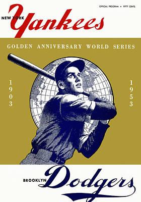 Yankee Stadium Painting - 1953 Yankees Dodgers World Series Program by Big 88 Artworks