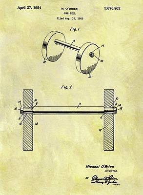 1954 Barbell Patent Art Print by Dan Sproul