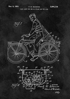 Bike Drawing - 1954 Bicycle Light Patent by Dan Sproul