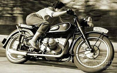 1954 Bmw R68 Motorcycle Racer. Art Print