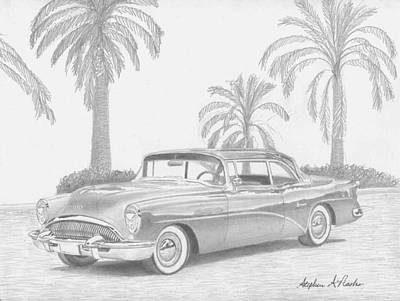 Super Cars Drawing - 1954 Buick Super Classic Car Art Print by Stephen Rooks
