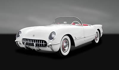 Photograph - 1954 C1 Chevrolet Corvette  -  1954c1chevycorvettegray166577 by Frank J Benz