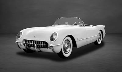Photograph - 1954 C1 Chevrolet Corvette  -  54vettebw33 by Frank J Benz