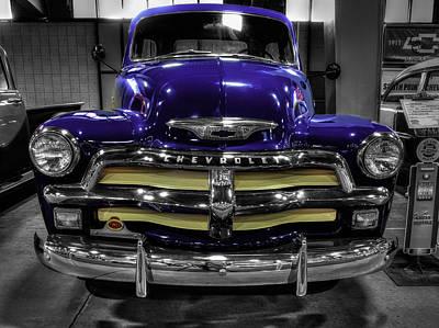 Antique Photograph - 1954 Chevrolet 3100 Blue by John Straton