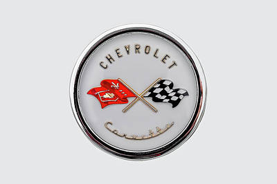 Photograph - 1954 Chevrolet Corvette Hood Badge  -  1954vettehoodbadge166579 by Frank J Benz