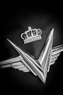 Photograph - 1954 Chrysler Imperial Sedan Emblem -0068bw by Jill Reger