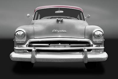 Photograph - 1954 Chrysler Windsor Front Detail  -  1954chryslerfrontdetailgry183849 by Frank J Benz
