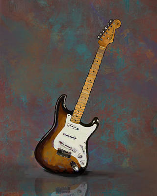 Clapton Painting - 1954 Fender Stratocaster Guitar by Bradford Adams